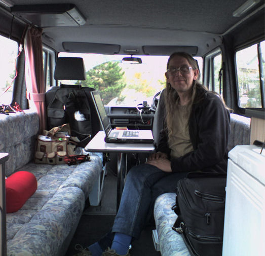 Paul at work in his Campervan